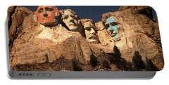 Mount Rushmore Red And Blue Drawing Portable Battery Charger