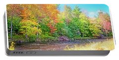 Mountain Stream In Early Autumn Portable Battery Charger