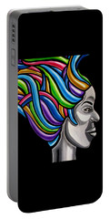 Colorful 3d Abstract Painting, Black Woman, Colorful Hair Art Artwork - African Goddess Portable Battery Charger