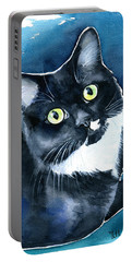 Mystical Marina Fluffy Tuxedo Cat Painting Portable Battery Charger