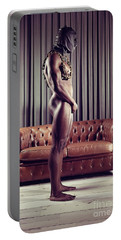 Naked Man With Mask Standing In Front Of A Sofa Portable Battery Charger