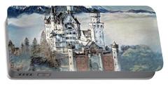 Portable Battery Charger featuring the digital art Neuschwanstein Castle 2 by Pennie McCracken