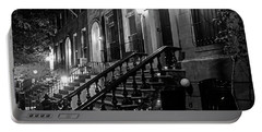 New York City Brownstones  Hell's Kitchen Chelsea Ny Black And White Portable Battery Charger