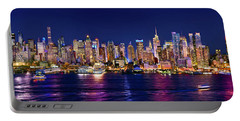 New York City Nyc Midtown Manhattan At Night Portable Battery Charger