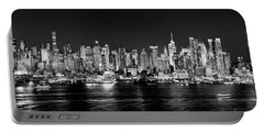New York City Nyc Skyline Midtown Manhattan At Night Black And White Portable Battery Charger