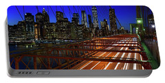 New York Skyline From The Brooklyn Bridge Portable Battery Charger