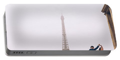 Newly-wed Couple On Their Honeymoon In Paris, Loving Having A Date Near The Eiffel Tower Portable Battery Charger