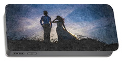 Newlywed Couple After Their Wedding At Sunset, Digital Art Oil P Portable Battery Charger