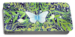 Portable Battery Charger featuring the painting Night Butterfly by Lise Winne