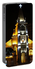 Night View Of The Holy Rosary Cathedral Portable Battery Charger