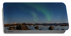 Northern Lights Over A Swamp  Portable Battery Charger