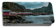 Norway Panoramic View Of Lofoten Islands In Norway With Sunset Scenic Portable Battery Charger
