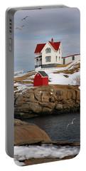 Nubble Light - Cape Neddick Lighthouse Seascape Landscape Rocky Coast Maine Portable Battery Charger