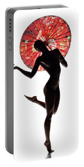 Nude Woman With Red Parasol Portable Battery Charger