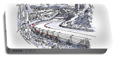 Nuerburgring Nordschleife Hatzenbach Racetrack Ink Drawing And W Portable Battery Charger