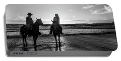 Ocean Sunset On Horseback Portable Battery Charger