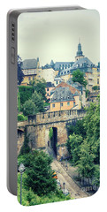 old city Luxembourg from above Portable Battery Charger