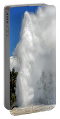 Old Faithful With Steam And Vapor Portable Battery Charger