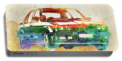 Old Ford Mustang Watercolor,  Portable Battery Charger