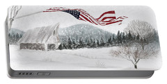 Old Glory In The Snow Portable Battery Charger