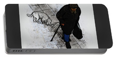 Portable Battery Charger featuring the digital art Old Lady With A Dog by Attila Meszlenyi