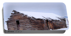 Old Log Cabin Cabin In Snowfall Portable Battery Charger