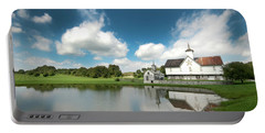 Old Star Barn And Pond Reflection Portable Battery Charger