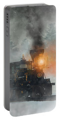Portable Battery Charger featuring the digital art Old West Steam Train  by Daniel Eskridge