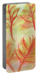 Orange Fanciful Leaves Portable Battery Charger
