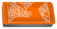 Orange Map Of Istanbul Portable Battery Charger