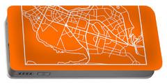 Orange Map Of Reykjavik Portable Battery Charger