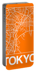 Orange Map Of Tokyo Portable Battery Charger