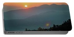 Portable Battery Charger featuring the photograph Orange Sunrise Above Mountain In Valley Himalayas Mountains by Raimond Klavins