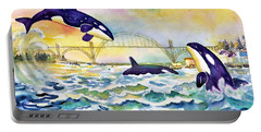 Orcas In Yaquina Bay Portable Battery Charger