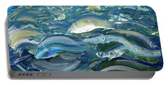 Portable Battery Charger featuring the painting Original Oil Painting With Palette Knife On Canvas - Impressionist Roling Blue Sea Waves  by OLena Art Brand