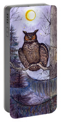 Owl Amid The Evergreen Portable Battery Charger