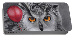 Owl With The Red Balloon Portable Battery Charger