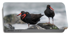 Oystercatchers In The Rain Portable Battery Charger