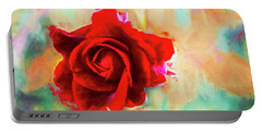 Painted Rose On Colorful Stucco Portable Battery Charger