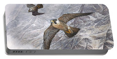 Pair Of Peregrine Falcons In Flight Portable Battery Charger