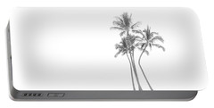 Palm Tree Cluster In Black And White Portable Battery Charger