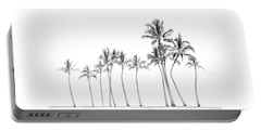 Palm Tree Horizon In Black And White Portable Battery Charger