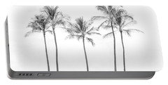 Palm Trees On The Beach In Black And White Portable Battery Charger