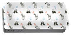 Panda And Zebra With Balloons Pattern Portable Battery Charger