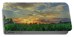 Panoramic Cornfield Sunset Portable Battery Charger