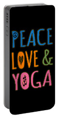 Portable Battery Charger featuring the digital art Peace Love Yoga by Flippin Sweet Gear