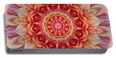 Peach Floral Mandala Portable Battery Charger