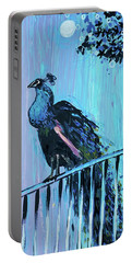 Peacock On A Fence Portable Battery Charger