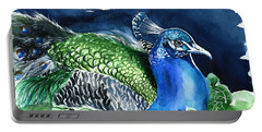 Peacock With Ivy Portable Battery Charger