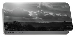 Peak District From Black Rocks In Monochrome Portable Battery Charger